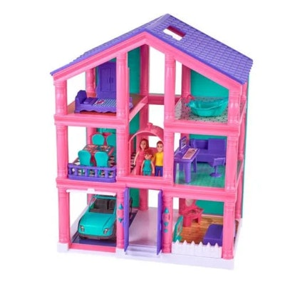 Kid connection 24-piece 3-story dollhouse play set with working garage & elevator