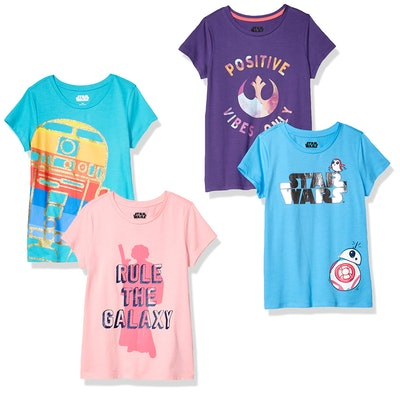 Spotted Zebra by Star Wars - Girls' 4-Pack Short-Sleeve T-Shirts