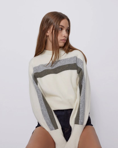 The Odette Sweater In Powder White Multi