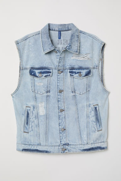 Denim Vest with Printed Design
