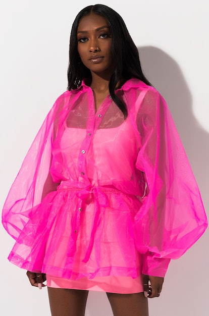 Front View Forgiveness Sheer Button Down Blouse in Neon Pink