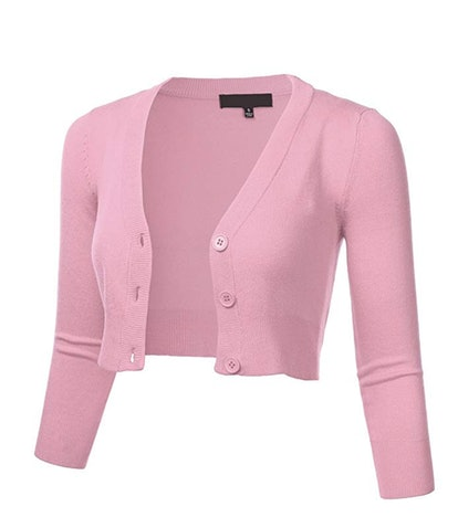 FLORIA Women's Solid Button Down 3/4 Sleeve Cropped Bolero Cardigan Sweater (S-4X)