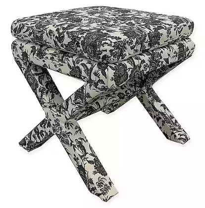 One Kings Lane™ Open House Valerie Pillow-Top Ottoman in Onyx Toile