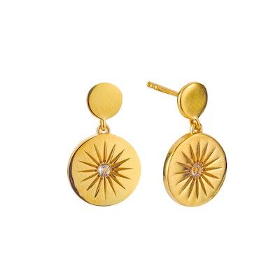 Soleil White Topaz Disc Drop Earrings
