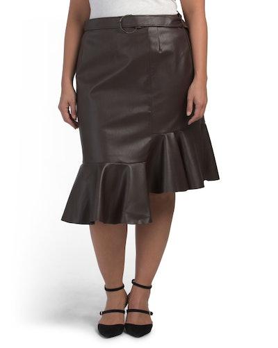 Elvi Plus Faux Leather Flounce Skirt (Sizes 14-24)