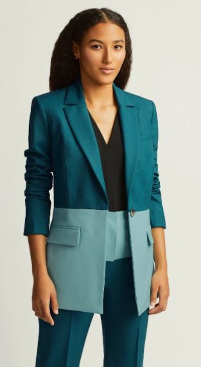 Colorblocked Single Button Blazer