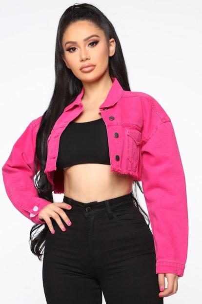 Go Getter Denim Jacket - Neon Pink