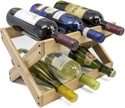 Sorbus Bamboo Foldable Tabletop Wine Rack