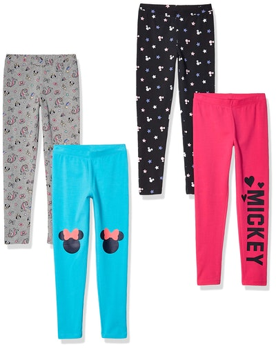 Spotted Zebra by Disney - Girls' Toddler & Kids Mickey and Minnie Mouse 4-Pack Leggings