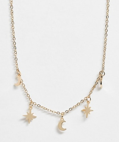 Fine Chain Choker Necklace with Moon and Star Pendants