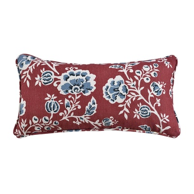One Kings Lane Open House™ Catrine Vermillion Floral Lumbar Throw Pillow in Coral
