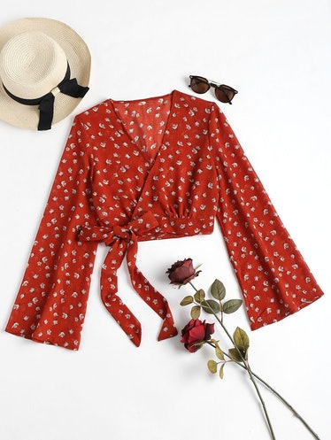 Cropped Wrap Top - Cherry Red
