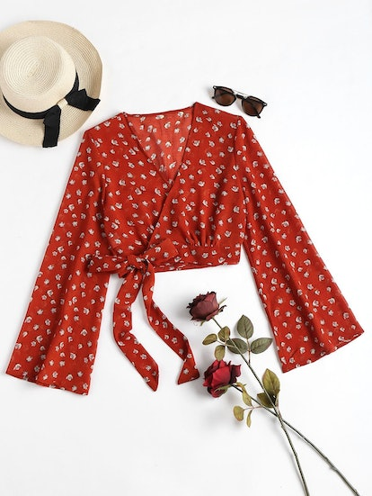Cropped Wrap Top - Cherry Red S