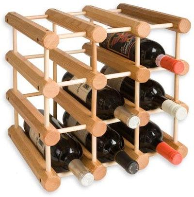J.K. Adams Ash Wood 12-Bottle Wine Rack