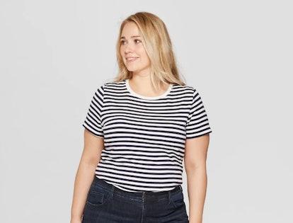 Ava & Viv Women's Plus Size Striped Short Sleeve Crewneck T-Shirt