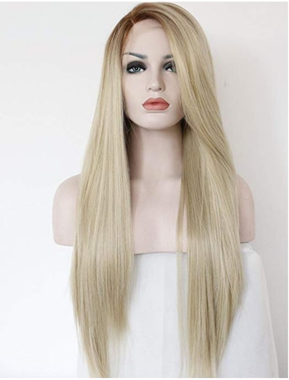 K'ryssma Fashion Ombre Blonde Glueless Lace Front Wigs 2 Tone Color Light Brown Roots #12 Side Part Long