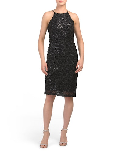Marina Embroidered Sequin Halter Neck Dress (Sizes XS-XL)