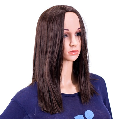 SWACC 14-Inch Short Straight Middle Part Hair Wig Medium Length Synthetic Heat Resistant Wigs for Women with Wig Cap
