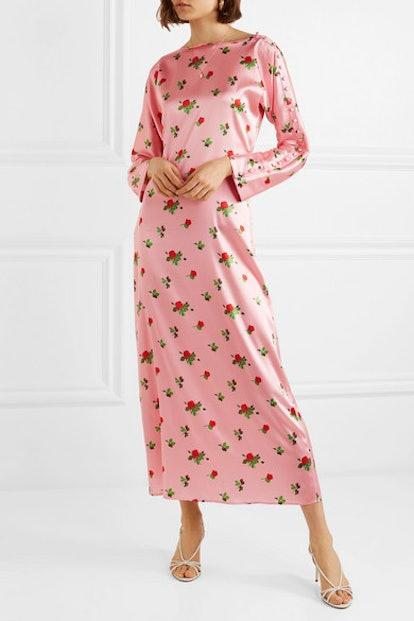Dakota Floral-Print Stretch-Silk Satin Maxi Dress