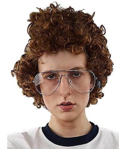 Brown Afro Nerd Wig + Glasses