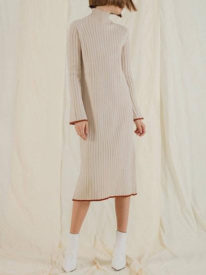 Wide Rib Knit Midi Dress