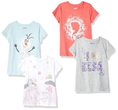 Spotted Zebra by Disney Frozen - Girls' Toddler & Kids 4-Pack Short-Sleeve T-Shirts