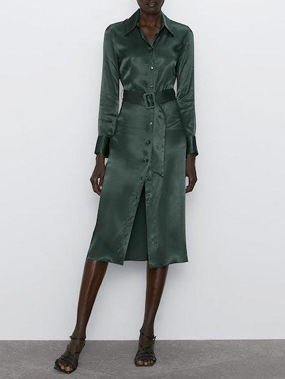 Satin Effect Midi Dress