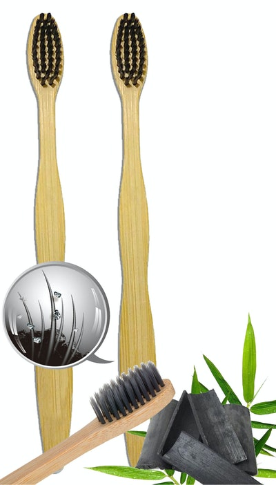 Natural Bamboo Charcoal Toothbrush - 100% Organic, Biodegradable and Eco-Friendly