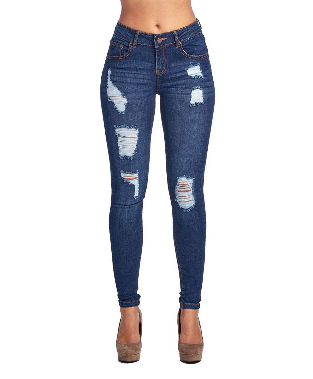 ICONICC Women's Butt-Lifting Destroyed Skinny Jeans