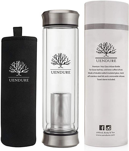 UEndure Glass Tea Infuser Travel Mug with Strainer