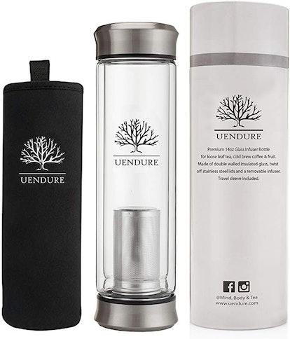UEndure Glass Tea Infuser Travel Mug with Strainer
