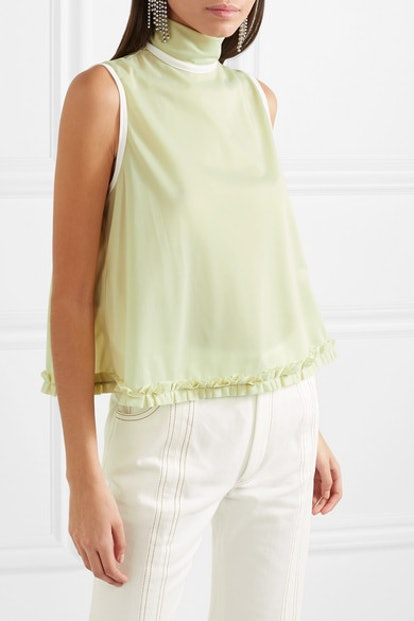 Ruffle-Trimmed Jersey Top