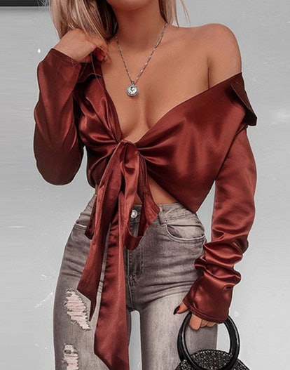 Dark Brown Satin Crop Top