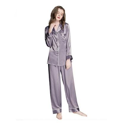 Lonxu Womens Silk Satin Pajamas Set