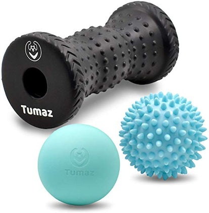 Tumaz Massage Ball & Foot Roller 3-In-1 Set with Spiky Ball