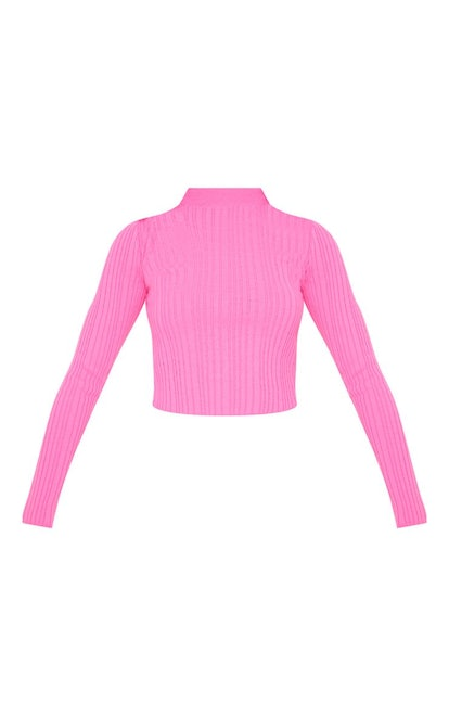 HOT PINK HIGH NECK KNITTED RIB TOP