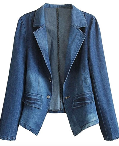 HOOBEE DENIM Women's Long Sleeve Denim Blazer Jacket Suits