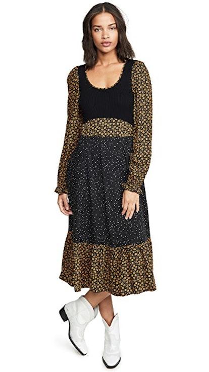 Long Sleeve Mixed Midi Dress