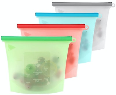 4-Pack Reusable Silicone Food Bag
