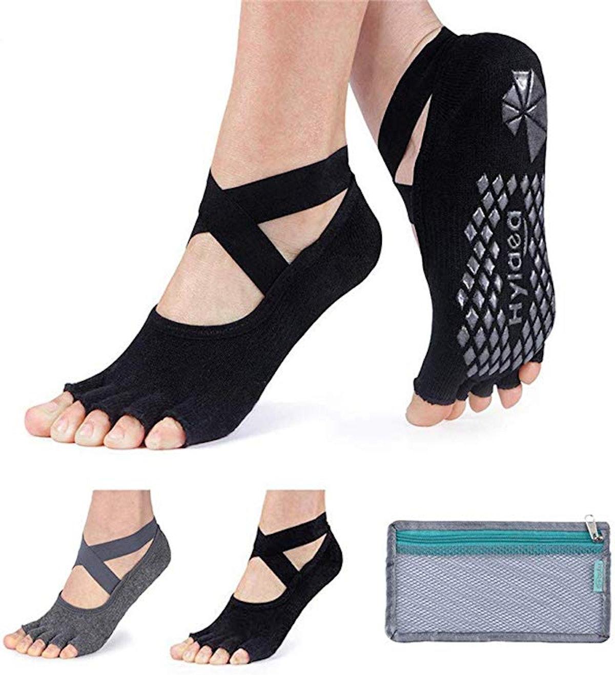 Hylaea Grip & Non Slip Toeless Half Toe Socks (2-Pack)