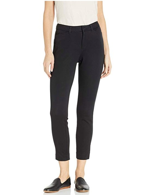 LADIES PRINTED TROUSER PULL ON TROUSERS SIDE POCKETS ANKLE LENGTH FITTED BLACK