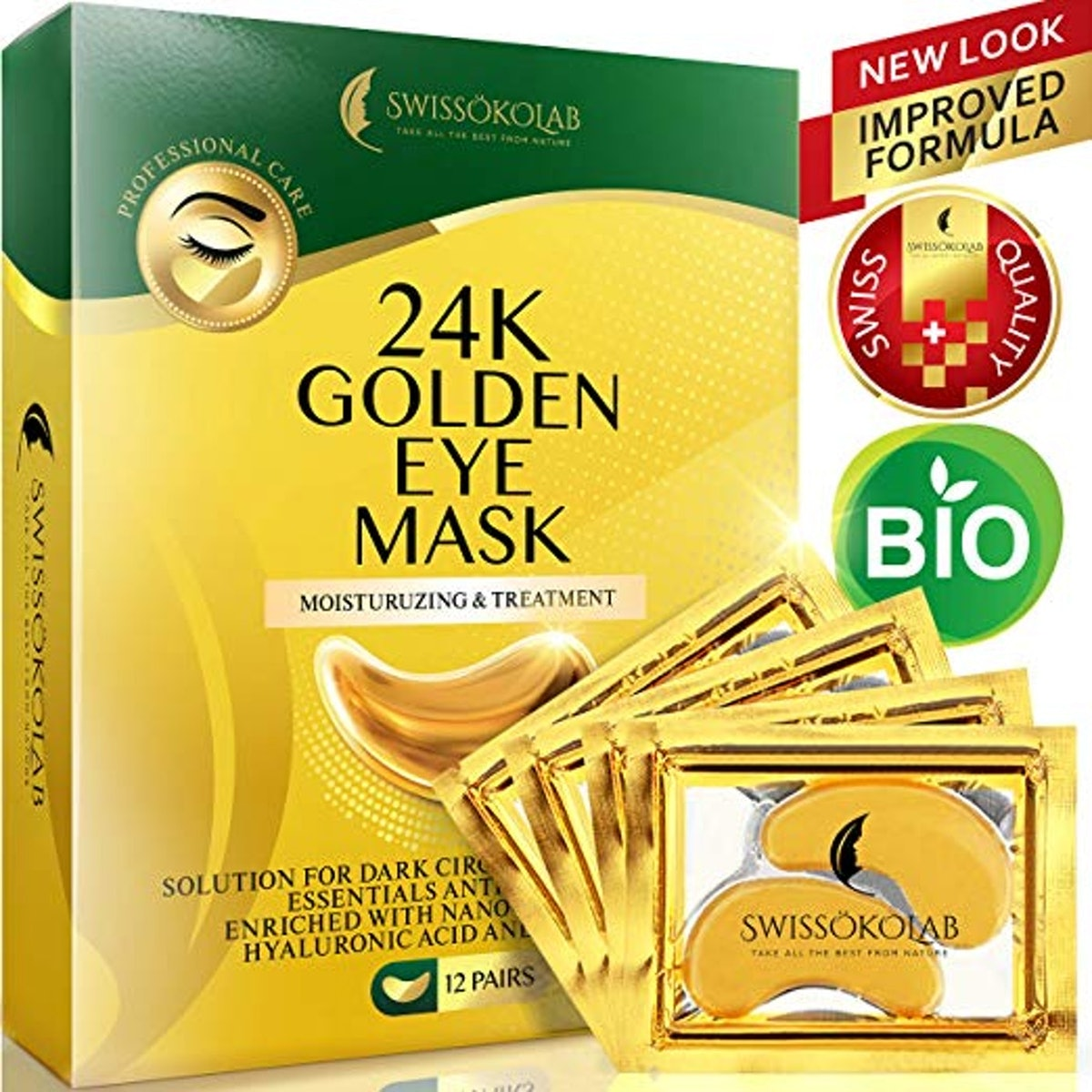 SWISSÖKOLAB Hyaluronic Acid 24-Karat Gold Eye Patches