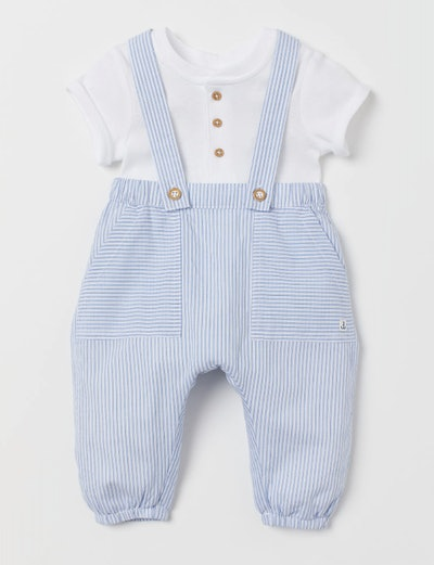 Light Blue Striped Dungarees