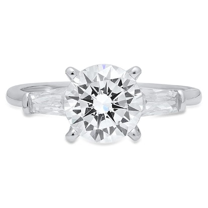 Round & Baguette Cut 3-Stone Engagement Ring