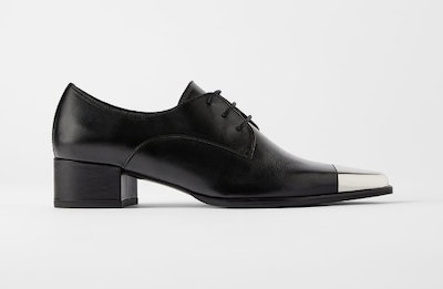 Flat Leather Shoes With Metal Toe