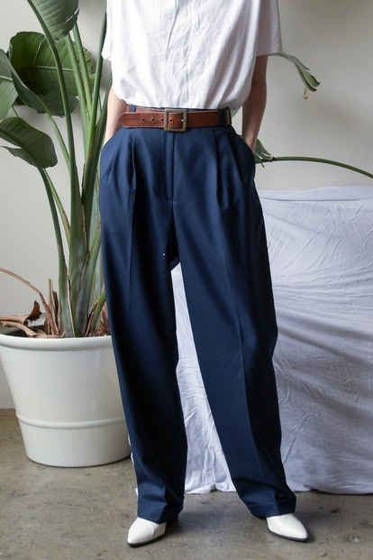 Vintage Baggy Navy Wool Trousers