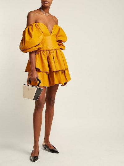 Castellain Sweetheart-Neck Leather Mini Dress