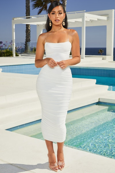 Let's Be Clear Clear Strap Ruched Mesh Midaxi Dress In Oyster White
