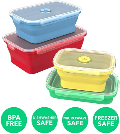 Vremi Silicone Food Storage Containers (8-Piece Set)