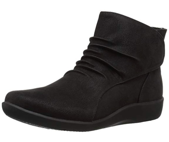 Ladies Cushion Walk Low Wedge Formal Casual Pull on Chelsea Walking Boots Shoes